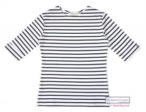 Ladies' Elbow Sleeve Striped Top