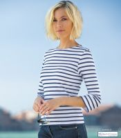 Women's Stripe Breton Top - 3/4 sleeve