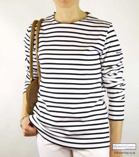 a4d82b5891 Women's Breton Stripe Shirt, White/Dark Navy