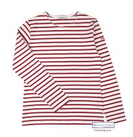 Ladies' White/Red Striped Shirt Top